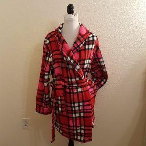 Betsey Johnson Plush Red Plaid Comfy Robe Sz M/L